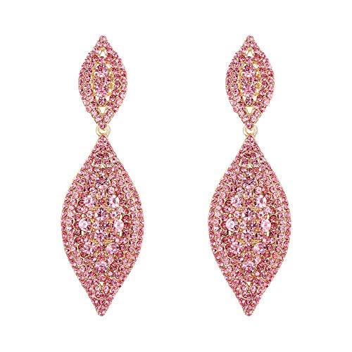 Flyonce Women's Austrian Crystal Wedding Bridal Charm 2 Leaf Drop Dangle Earrings Pink Gold-Tone