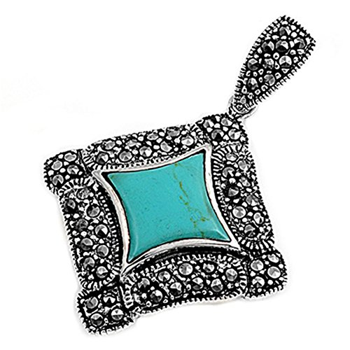 Elegant Ornate Square Pendant Simulated Turquoise .925 Sterling Silver Charm