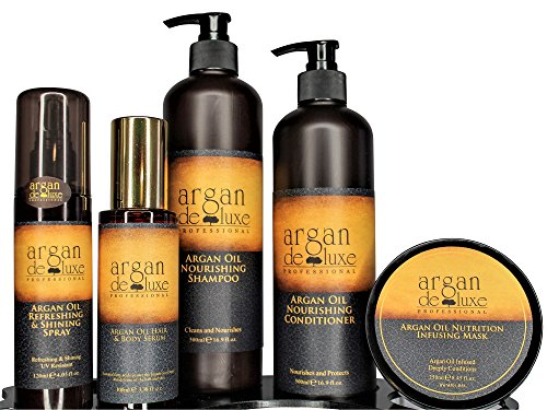 Hair Bundle Care (Argan deluxe 100% Pure Organic Moroccan Argan Oil Luxury Hair Care Bundle includes Shampoo, Conditioner, Shine Spray, Hydrating Mask, Hair Body Serum- Restores Shine and Softness-For all hair types)