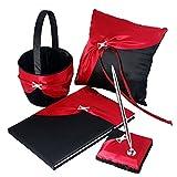 Eyekepper 4-Piece Guest Book Pen Set Wedding Ring Pillow Flower Girl Basket, Rhinestone Ring, Black&Red