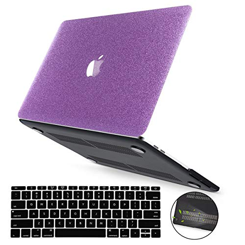 PapyHall MacBook Rtina 15 inch Case, Bling Bling Glitter Design Rubberized Coated Plastic Case & Keyboard Cover for Macbook Pro 15