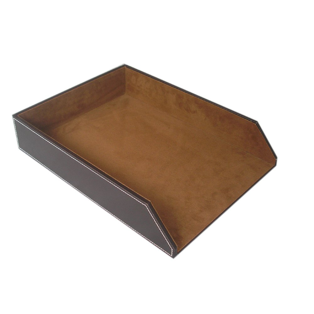 KINGFOM PU Leather Collection Letter Tray, Document Desk Organizer, Letter Size (1 tray-brown)