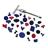 ABN Car Dent Repair T-Bar Slide Hammer Tool PLUS 33 Assorted Glue Pulling Tabs – Paintless Hail Removal Body Puller