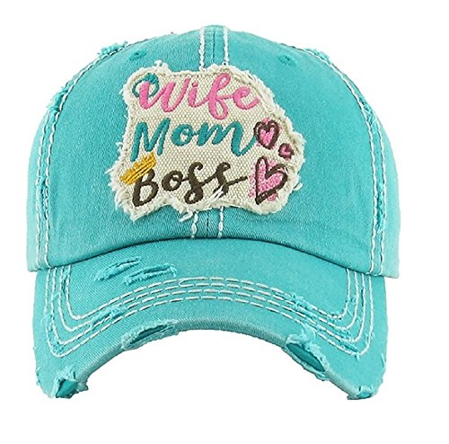 KB Adjustable Wife Mom Boss Vintage Distress Heart Crown Hat Cap Pink Blue (Turquoise Blue) (Women Hat Boss Pink For)