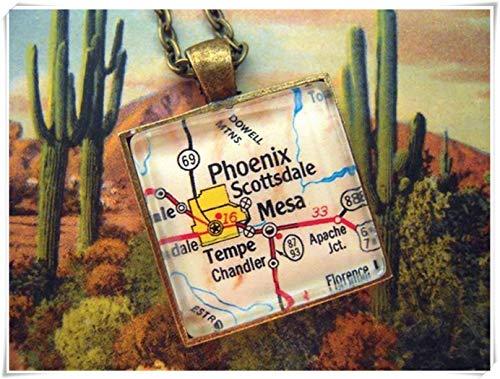 A little little love Custom Map Jewelry, Phoenix Mesa Arizona Map Pendant,Vintage Map Pendant Necklace, Personalize Map ()