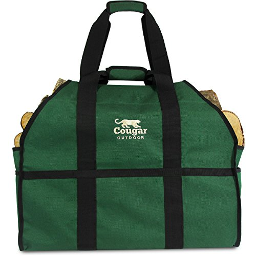 Cougar Ultimate 2 Handle Log Carrier - Extra Heavy Duty, Standing, Waterproof Lined Firewood Tote, Bag Best For Carrying Wood (Forest Green)