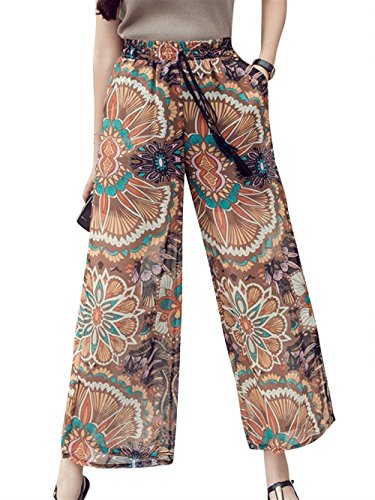 Pantaloni Floreale Vita Alta Donna Pants Primaverile Moda Pantaloni Stampate Colour Moda Stile Chiffon Lunga Elastica Vita Bendare Larghi 4 Baggy Eleganti Glamorous Spacco Giovane Pantaloni Semplice Estivi x8wRxYq1