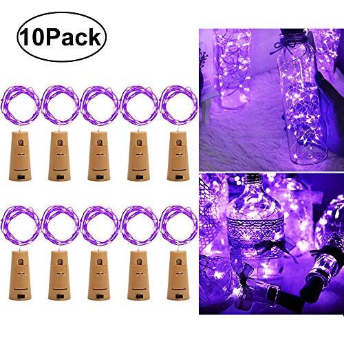 - iLLTAKE Wine Bottle Lights with Cork, Purple 10 Pack Battery Operated LED Cork Shape Silver Copper Wire Waterproof Fairy String Lights for DIY Wedding Party Decoration Halloween Christmas