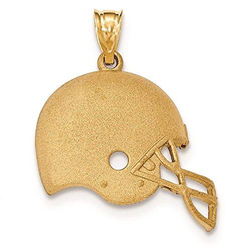 14K Yellow Gold Brushed Football Helmet Charm Pendant