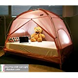 TQUAD Floorless Indoor Privacy Tent on Bed for Insulation Warm Sleep in Drafty Room Saves on Heating bills(a free LED light included) (Small, Pink)