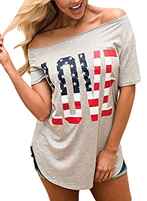 EnlaChic Women's 4th Of July American Flag Print Off Shoulder USA Tops T-Shirt