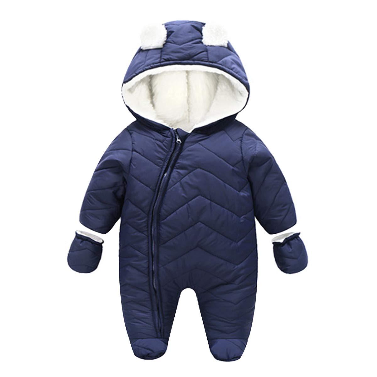 Kanodan Baby Boy Girl Down Jumpsuit Romper Winter Warm Romper Snowsuit Coats (Blue, 18-24Months) by Kanodan