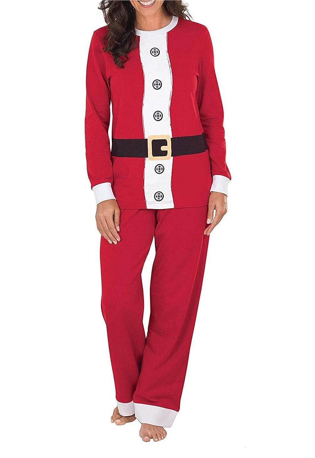 Q&Y Matching Christmas Pajamas for Family Sleepwear Nightwear Red Pajamas Set