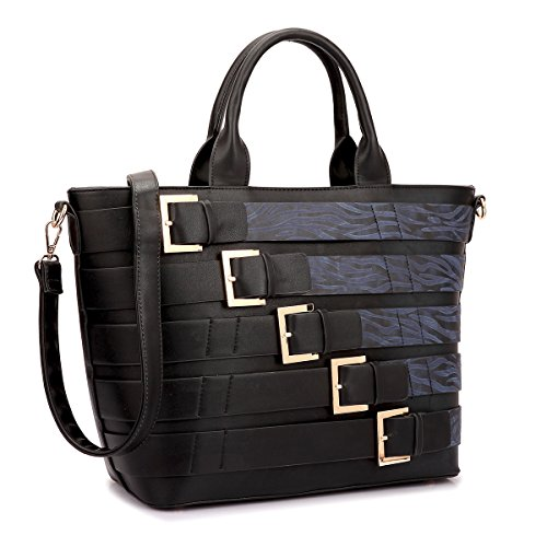 Dasein Women Tote Purse with Buckles Large Size Handbag with Shoulder Strap (Black/Blue)