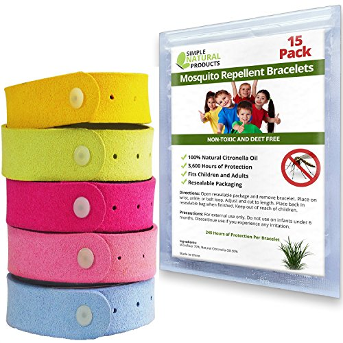 Simple Natural Products Mosquito Repellent Bracelet (15 Pack) Insect Repellent for Kids and Adults - Better Than Spray Lotion or Wipes - Travel Mosquito Repellent Bracelets - Natural and Deet Free
