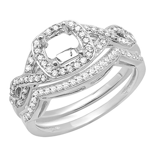 Dazzlingrock Collection 0.40 Carat (ctw) 14K Round White Diamond Swirl Semi-Mount Engagement Ring Set, White Gold, Size 7