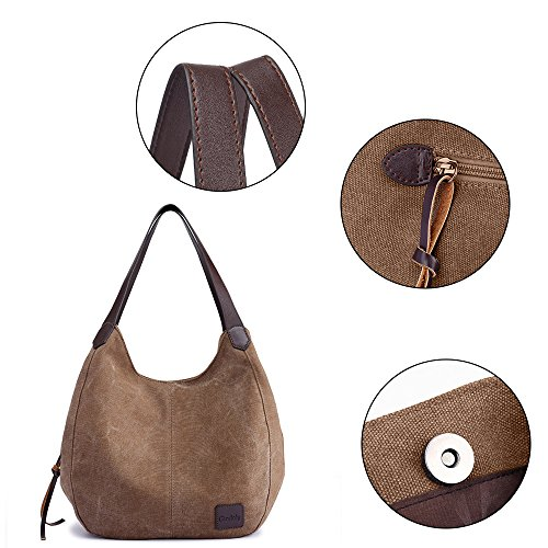 Bag GINDOLY Bag Lady Bag Fashion Shoulder Handbag Shopper Hobo Brown Bucket Canvas Tote Small 77xA60r