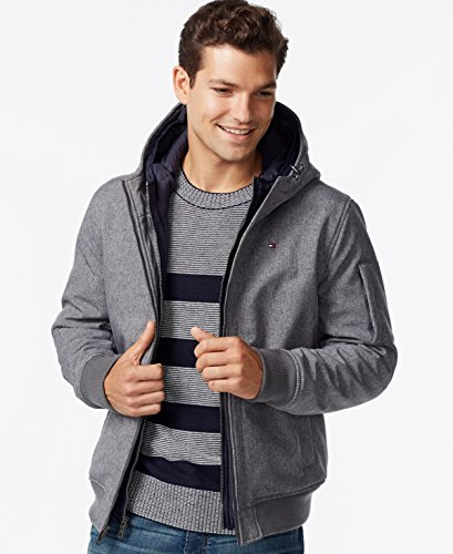 Tommy Hilfiger Men's Soft Shell Fashion Bomber with Contrast Bib and Hood, Navy/Dark Grey, X-Small