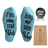 Gifts for Women - Birthday Gift for Her Mom - Funny Wine Socks - with Anti-slip by FOLE INC (Blue)