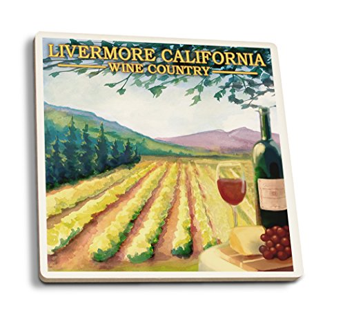 33402 Wall - Lantern Press Livermore, California - Wine Country (Set of 4 Ceramic Coasters - Cork-Backed, Absorbent)