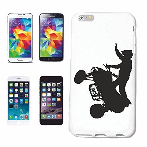 """cas de téléphone iPhone 6+ Plus """"QUAD SILHOUETTE RACE RACING FORMULA MOTOR SPEEDWAY ÉQUIPE SPEED CLASSIC AMERICAN"""" Hard Case Cover Téléphone Covers Smart Cover pour Apple iPhone en blanc"""