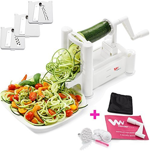 WonderVeg - Veggie Spiralizer Vegetable Slicer - Zucchini Spaghetti Pasta Noodle Maker - Cleaning Brush, Mini Recipe Book, 6 Spare Parts (Wonder Peeler)
