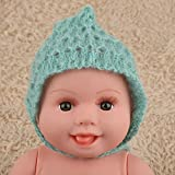 Fashion Cute Newborn Boy Girl Photography Props Outfits Mohair Knit Hat Infant Hand Knitting Hat Photo Photography Prop Costume(Green)
