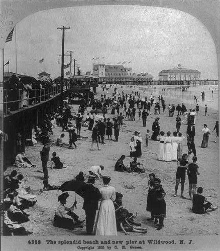 Photo: Splendid Beach,New Pier,Wildwood,New Jersey,NJ,c1905,Bathers,Bathing Suits