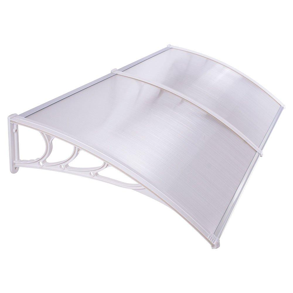 Triprel Inc. 39.4'' x 78.8'' Window Awning Door Sun Shade Canopy Hollow Sheet UV Rain Snow Protection - SILVER