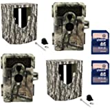 (2) MOULTRIE Game Spy M-990i No Glow Trail Cameras + Security Boxes + SD Cards