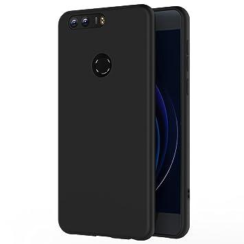 AICEK Funda Honor 8, Negro Silicona Fundas para Huawei Honor 8 Carcasa (5,2 Pulgadas) Negro Silicona Funda Case