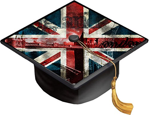 Vintage British Flag United Kingdom UK Grad Cap Decal - Vinyl Sticker Skin for Graduation Caps -