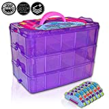 Toys : Holds 600 - Tiny Toy Box Shopkins Storage Case Organizer Container - Stackable Collectors Carrying Tote Compatible W/ Mini Toys Colleggtibles Fash'ems Tsum Tsum LoL Hot Wheels (Purple Sparkle/Pink)