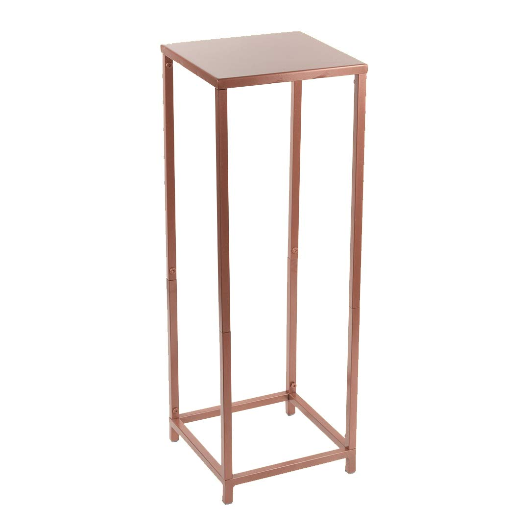 Koyal Wholesale Modern Flower Stand, Metal Floral Pedestal Stand for Wedding Centerpieces, Suitable for Indoor Outdoor Party, Simple Square Pillar Design for Vases (Rose Gold, 29 x 10-Inch)