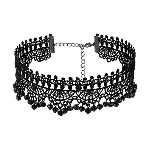 (Black Lace Necklace - Gothic Lolita Pendant Choker Clothing Accessories for Wedding Birthday Hallowen Christmas (Black3))