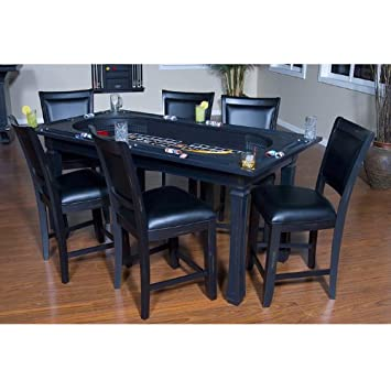 American Heritage Burlington 7 Piece Convertible Table 7 Game Chairs Set In  Peppercorn 477402,