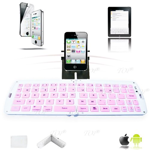 Price comparison product image TOP Quality Samsung Galaxy Note i9220 n7000 Bluetooth Keyboard, Android TV Box Keyboard, Keyboard for Galaxy Tab 10.1 p7500, Ultra-Flat Bluetooth Keyboard for iPad /iPhone, Folding Keyboard in Pink, 6~10 DAYS DELIVERY to USA!