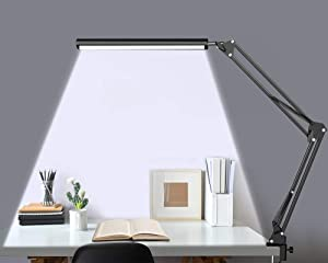 Desk Lamp with Clamp, Eye-Caring LED Swing Arm Desk Lamps for Office/Workbench/Drawing/Crafting, 3 Adjustable Color Temperature with 9 Brightness Levels 10W