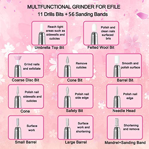 Electric Nail Drills for Acrylic Nails,Efile Nail Drill Kit,Portable Gel Nail File Machine,Professional Manicure Nail Drill Set 20000rpm Pedicure Polishing Shape Tools