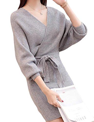 Smeiling Women Long Sleeve Solid V Neck Slim Wrap Dress with Belt Light Grey OS