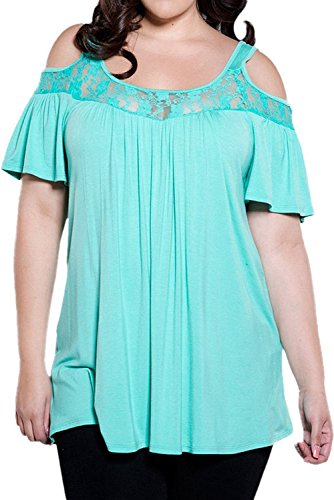 Just for Plus Women's Floral Lace Cold Shoulder Plus Size Blouse Top Casual Bodycon