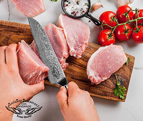 Santoku Chef knife 8 inch Best Quality Japanese VG -10 Super Steel 67 Layer High Carbon Stainless Steel, Incredible G10 Handle, Full-tang, Razor Sharp Chef Blade Kitchen Carving fillet chefs knives by Best.Buy.Damascus1 (Image #4)