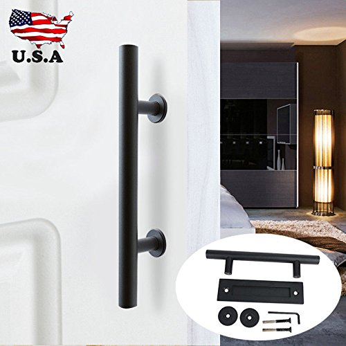 12in. (L300φ25180mm) Black Stainless Steel 201, Sliding Barn Door Pull and Flush Door Handle (Elite Lighted Keypad)
