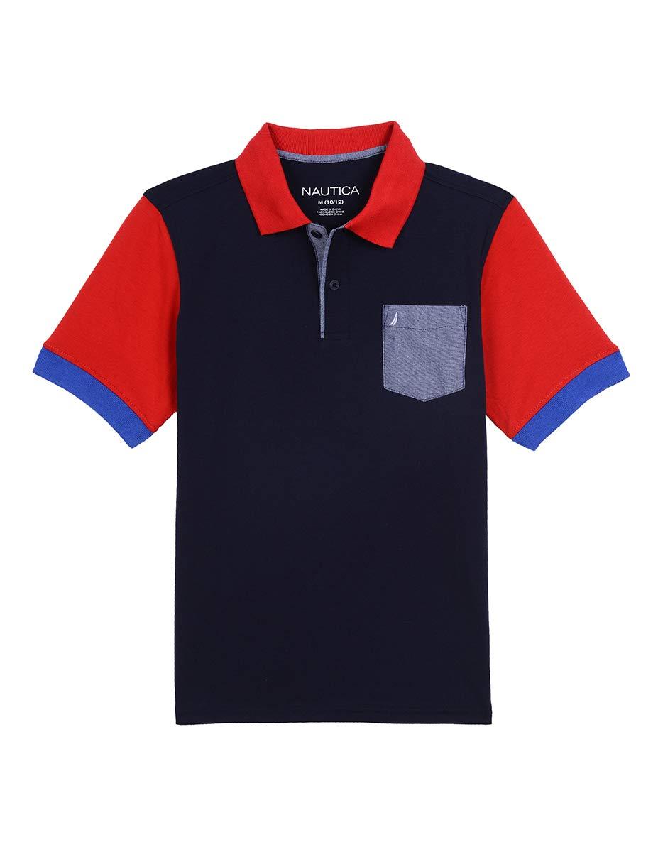 Nautica Boys' Short Sleeve Heritage Polo Shirt, Harry Sport Navy, Small (8)