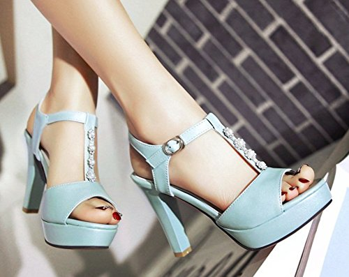 Aisun Womens Cute Beaded Ankle Wrap T Strap Buckled Peep Toe Dress Platform Sandals Chunky High Heels Shoes Blue 0d97Ln0