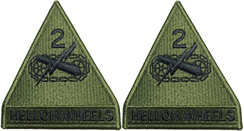 [Set 2 of 2nd Armored Division Hell on Wheels US Army Green Military Armed Forces DIY Applique Embroidered Sew Iron on Emblem Badge Costume] (Custom Snake Eyes Costumes)