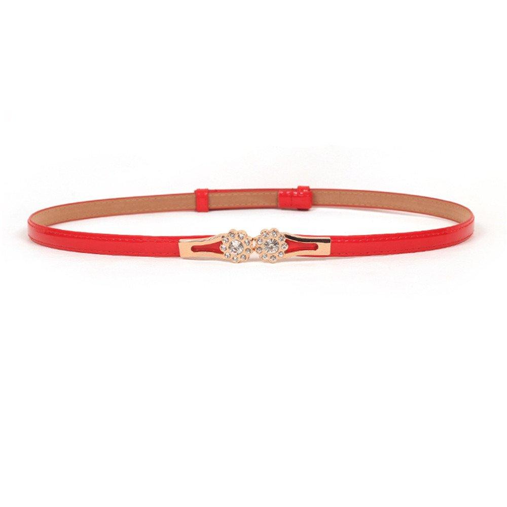 Fashion Accessories Alloy Flower Vintage Leather Belt Waist Belt for Women Red