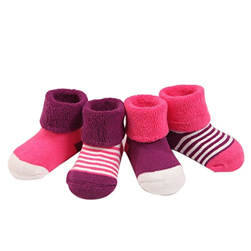 FQIAO Soft And Warm Autumn and Winter Unisex Baby Socks Cute Thick Stretchable 4 Pack Gift for Newborn And Baby 6-12 Months
