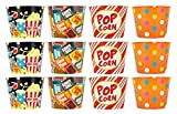 Set of 12 Party Snack Popcorn Buckets! 7.5'' Dia X 5.875'' H - Paper Snack Buckets! 4 Awesome Classic and Modern Designs! Perfect for Movie Nights, Family Nights, Sleep Overs, Parties, Events, and More!
