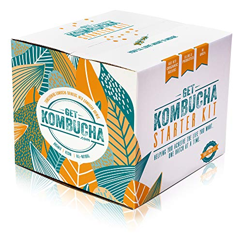 Get Kombucha [ADVANCED] Kombucha Starter Kit, Makes 5 Gallons or 40 Bottles of Organic Tea, Vegan, GMO, and Gluten-Free, Save Time and Money, Our All-Inclusive Probiotic Infused Brewing Bundle